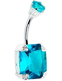 Body Candy 925 Sterling Silver Brilliant Blue Square Belly Ring