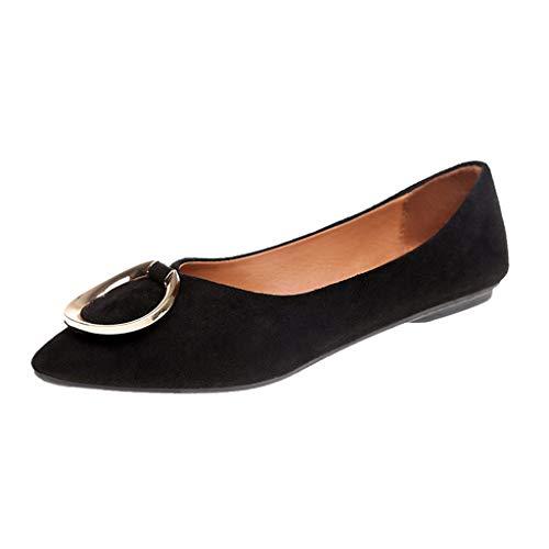 TianWlio Damen Ballerinas Frauen Mode Lässig Segelschuhe Punkt Zehe Flache Arbeit Schuhe Damen Platz Ferse Schuhe Black 38