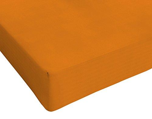 Italian Bed Linen 8058575001450 Lenzuolo Sotto con Angoli ed Elastico Tinta Unita, Zucca, 100% Cotone, Singolo, 90 x 200 x 1 cm