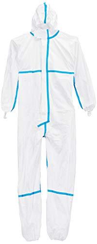 DuPont Tyvek 600 Plus | Chemikalienschutzkleidung mit Kapuze, Socken und Überklebte Nähte, Kategorie III, Typ 4-B, 5-B und 6-B | Weiß | Größe XL, 80 Stück -