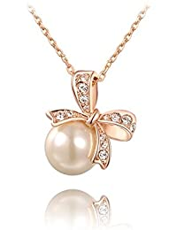Valentine Gifts: Carina Peculiar Pearl Rose Gold plated Swarovski Elements Crystal Pendant with Chain For Women / Girls