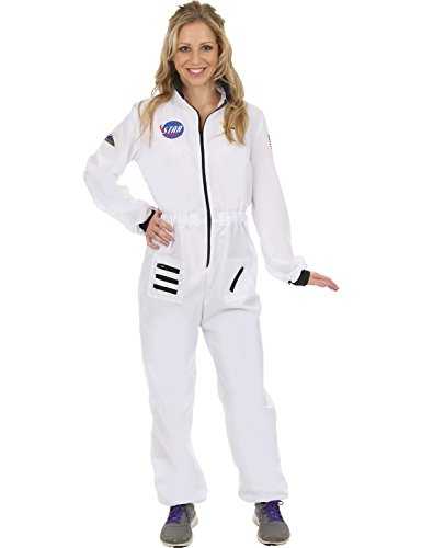 Ladies White Astronaut Spacewoman Space NASA Fancy Dress Costume