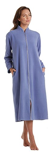 - 31VgwyXVHZL - Ladies Zip Soft Fleece Dressing Gown, Zipped Robe With Satin Trim Rose Pink Blue