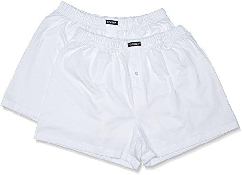 Ceceba Herren Boxershorts Shorts, 2er Pack, Einfarbig, Weiß (weiss 1000) ,XXX-large (Herstellergröße:9)