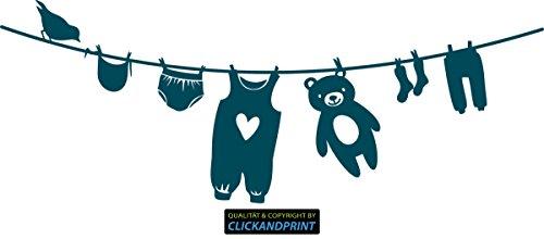 CLICKANDPRINT Aufkleber » Wäscheleine Baby, 130x48,8cm, Metallic Teal • Dekoaufkleber / Autoaufkleber / Sticker / Decal / Vinyl (Teal Baby Socken)