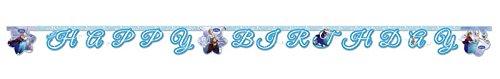 1 Happy Birthday Banner * FROZEN ICE SKATING * für Kindergeburtstag oder Motto-Party // Kinder Geburtstag Party Paper Letter Banner Buchstaben Kette Motto Disney Elsa Anna Olaf Schlittschuhe die Eiskönigin (Birthday Frozen Happy)