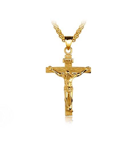 KnSam 18k Gold Vergoldet Kreuz Anhänger Halskette für Herren Damen mit 55cm Popcorn-Kette Gold [Neuheit Halsschmuck]