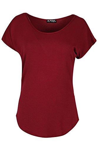 Oops Outlet Damen Freizeit Baggy überdimensional Top Damen Fledermausärmel Flügelärmel dehnbar gebogenem Saum T-Shirt Top Wein