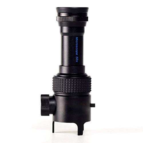 ZHJFDJ Lupe 50X Mit LED-Leuchten Mit Skala Mikroskop Schmuck Bernstein Identifikation Münze Stempel Lupe, Schwarz