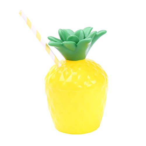 BESTOYARD Ananas Trinkbecher Kunststoff Ananas Tassen Hawaiian Tropical Party Tassen für Luau Beach Theme Party Supplies (mit Stroh)
