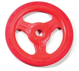 Bumper Grip??Cast Aluminum Milled Plate - Red 45 lb by York Barbell (York Cast)