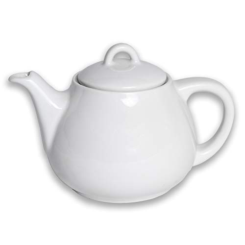 Acf teiera ceramica, bianca, 450 ml, smaltata, design tradizionale, 10 x 17 x 11 cm