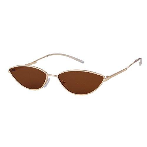 ADEWU 2018 Kleine Katzenaugen Sonnenbrille mit Metallrahmen Herren Damen (Braun (Linse) + Gold (Rahmen))