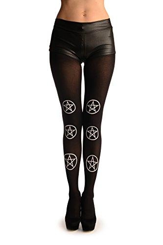 White Printed Pentagram On Black (Halloween) - Nero Collant Taglia Unica (34-38)