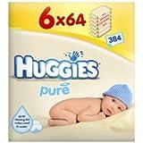 Lingettes Huggies Pure 64S–Lot de 6paquets de 64lingettes