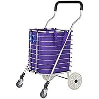 Carro de la compra de carro pequeño plegable portátil, carro de carretilla de aleación de aluminio Camión de mano con bolsas de almacenamiento, carro de escaleras de escalada con ruedas de trípode