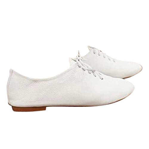 jeansian Moda Donna Pelle Bianca Casuale Scarpe Piatte Mocassini Loafers Shoes WSC037 White 38