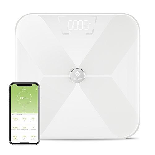 Etekcity Digitale Waage Personenwaage Körperfettwaage Bluetooth Körperwaage Smart Körperanalysegerät mit APP für Gewicht, BMI, Körperfett, Wasser, Muskelmasse usw bis 180 kg / 400 lb / 28 st, Weiß