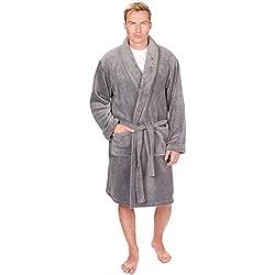 hommes de luxe Souple Corail Peignoir robe de chambre polaire - Gris, X Large