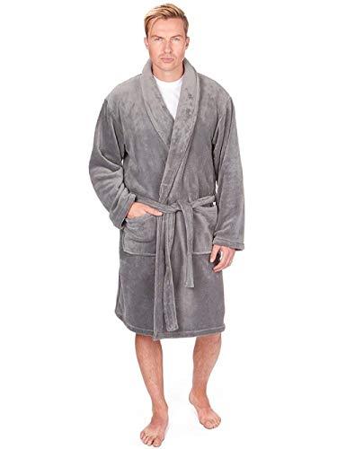 Di lusso da uomo corallo molle vestaglia in pile - grigio, x large
