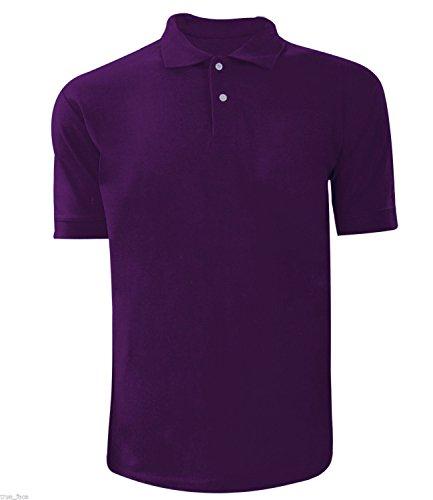 Men Plain Polo T-shirt Purple Xl