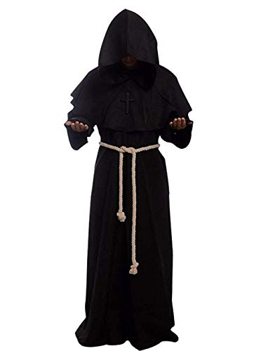 HaoLiao Chuangminghangqi Kapuzenumhang Halloween-Kostüm - Mittelalterliches Priester Kostüm Dressing Und Cordon Inklusive Quer Schwarz, ()