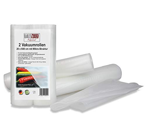 2 Vakuumrollen 20x600cm (Vakuumbeutel) für Lebensmittel | Vakuumier-Folie | Sous-vide | Profi-Qualität für Folienschweißgeräte