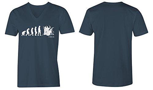 Evolution Drummer ★ V-Neck T-Shirt Männer-Herren ★ hochwertig bedruckt mit lustigem Spruch ★ Die perfekte Geschenk-Idee (03) dunkelblau