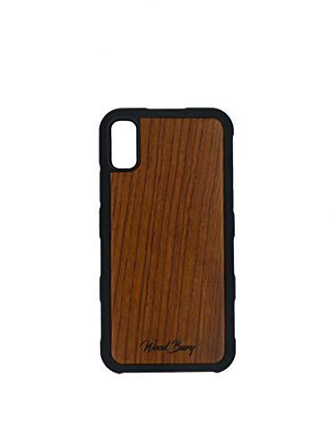 WoodBury iPhone X Hülle aus Rosenholz mit stoßabsorbierendem, elstischem TPU-Material und Griffpattern