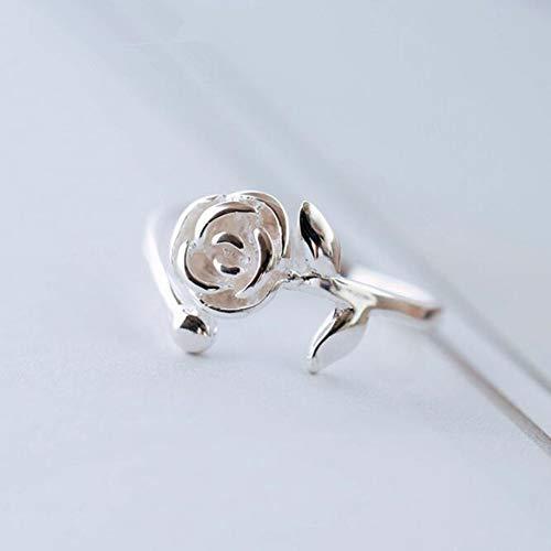 Hddwzh Woman Ring,Frau Ring, Schöne Temperament 925 Sterling Silber Rosenblüten Schmuck Ring Mode Persönlichkeit Öffnen
