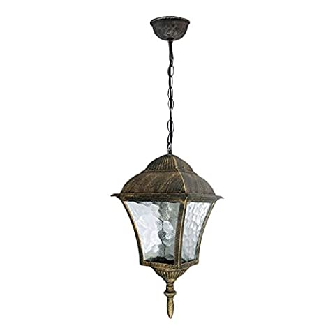 Traditional Hanging Outdoor Lantern Antique Gold IP43 rated 2/4/809
