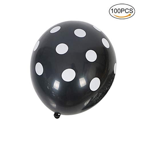 Nowbetter Halloween Latex Luftballons Kürbis Hexe Muster Dekorationen Supplies für Halloween Masquerade Thema Party für Kinder Jungen Mädchen 100Stück, Black Dot, 10in