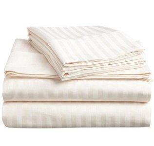 Linenwalas All Season Striped Cotton Double Duvet Cover - Ivory
