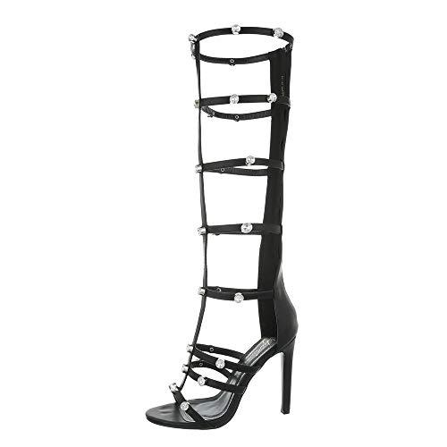 Ital-Design High Heel Sandaletten Damenschuhe Plateau Pfennig-/Stilettoabsatz High Heels Reißverschluss Sandalen/Sandaletten