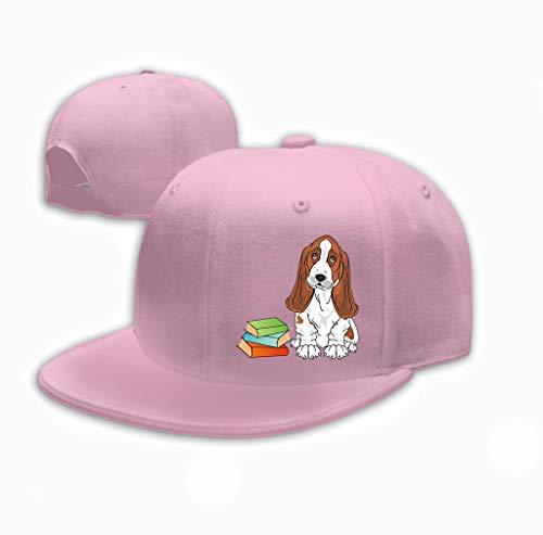 Snapback Adult Cowboy Hat Hip Hop Trucker Hat Dog Books Cute Basset Hound sit Many Colored Books Pink ()