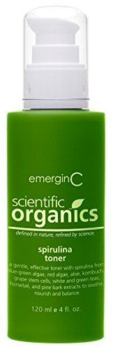 Maritime Pine Bark Extract (emerginC Scientific Organics - Spirulina Toner, Gentle Face Toner that Tightens Pores with Grape Seed Stem Cells for All Skin Types 120ml / 4oz by EmerginC)