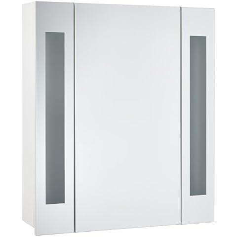 Mebasa MYBSPKMD4 - Armario con espejos para baño, 1 puerta, estantes ajustables, tubo fluorescente T5, cierre suave, con interruptor exterior, premontado
