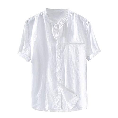 t V Ausschnitt Sommer Einfarbig Große Größen Beiläufig Baumwolle und Leinen Tasten Lose Kurzarm Men Tops S-XXL ()
