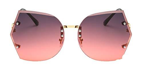Tianba Large-Gerahmte Sonnenbrille Damen Anti UV Brillen Sommer Ideal Radbrille Rahmenlose Metall Sonnenbrillen