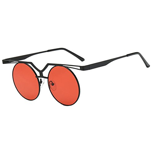 MagiDeal Women's Retro Round Sunglasses Eye Glasses Eyewear Unisex - black red, as described