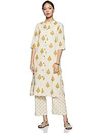 Appirant Women's Cotton Front Slit Kurta with Palazzo Set (Off White-Orange)
