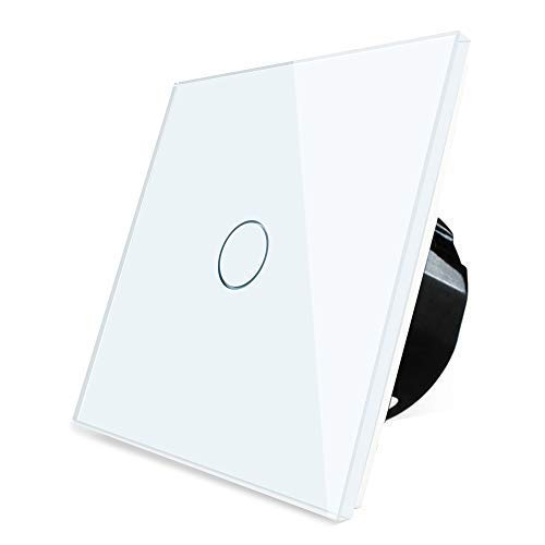 Wallpad 110-250V 1-200W White 1 Gang 1 Way Capacitive Glass Touch Sensor Light Switch