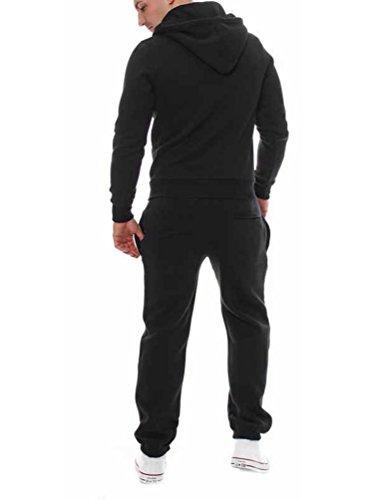 Yiiquan Uomo Felpe Giacche Cappotti Con Cappuccio Caldo Zip Cappotto Giacche Felpa Outwear 2PCS Set Nero