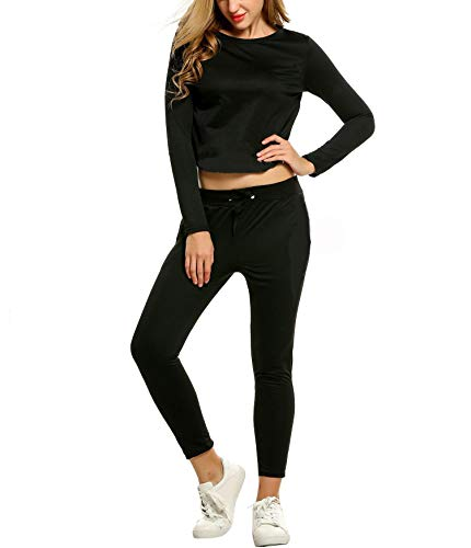 cooshional Femmes Jogging Tops Survêtement Manches Longue Pantalons Chemises 2 Pièce Survêtem