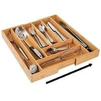 mDesign Cubertero de madera de bambú extensible – Moderno organizador de cocina para cajones – Separador de cajones para cocina, oficina, baño y dormitorio – color bambú