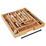 mDesign erweiterbarer Besteckkasten aus Bambus – moderner Küchen Organizer für Schubladen – Schubladeneinsatz für Küche, Büro, Badezimmer und Schlafzimmer – bambusfarben