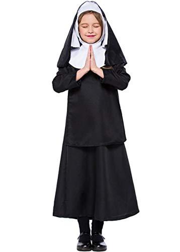 LCXYYY Mädchen Nonnen Kostüm Kleid und Kopfbedeckung Halloween Costume Damen Zombie Geist Karneval (Nonne Kostüm Für Kinder)