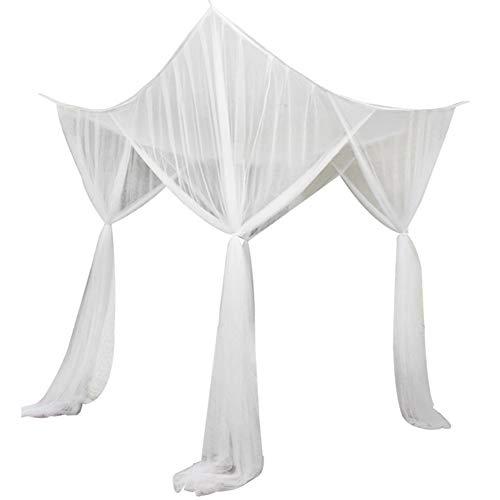 Unbekannt Boi Betthimmel mit 4 Ecken, luxuriös, gemütliches Netz, Bettwäsche, Moskitonetz für Mädchen und Jungen, Polyester, weiß, 74.8
