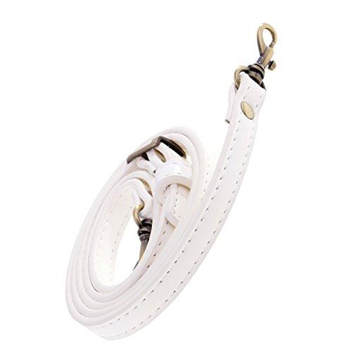 perfk Verstellbar Taschenbügel Taschenhenkel Taschengriffe Schultergurt Lederriemen Umhängetasche Band - weiß