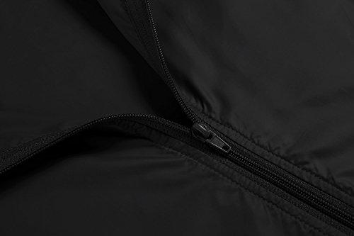 Tomasa Damen Funktionsjacke Übergangsjacke Regenjacke mit Kapuze Tasche Wasserdicht Atmungsaktiv laufen Radfahren Sportjacke Schwarz